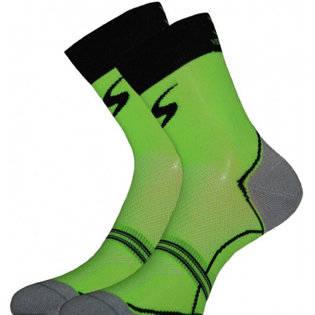 Socquette Haute Carbone Vert Fluo/Noir